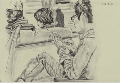 graphite drawing of people riding Bay Area Rapid Transit