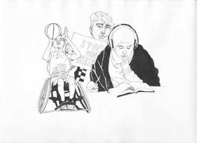 Pen and ink drawing of a diverse group of people representing the American public.