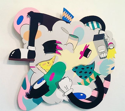 "shaped wood panel painting titled, ""Kerfuffle"", by Jessica Eastburn"